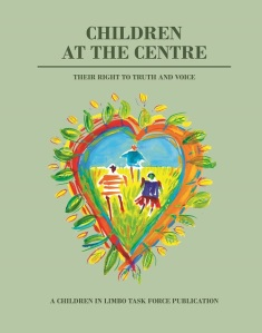 Cover of publication, there is a painted heart with children inside it.